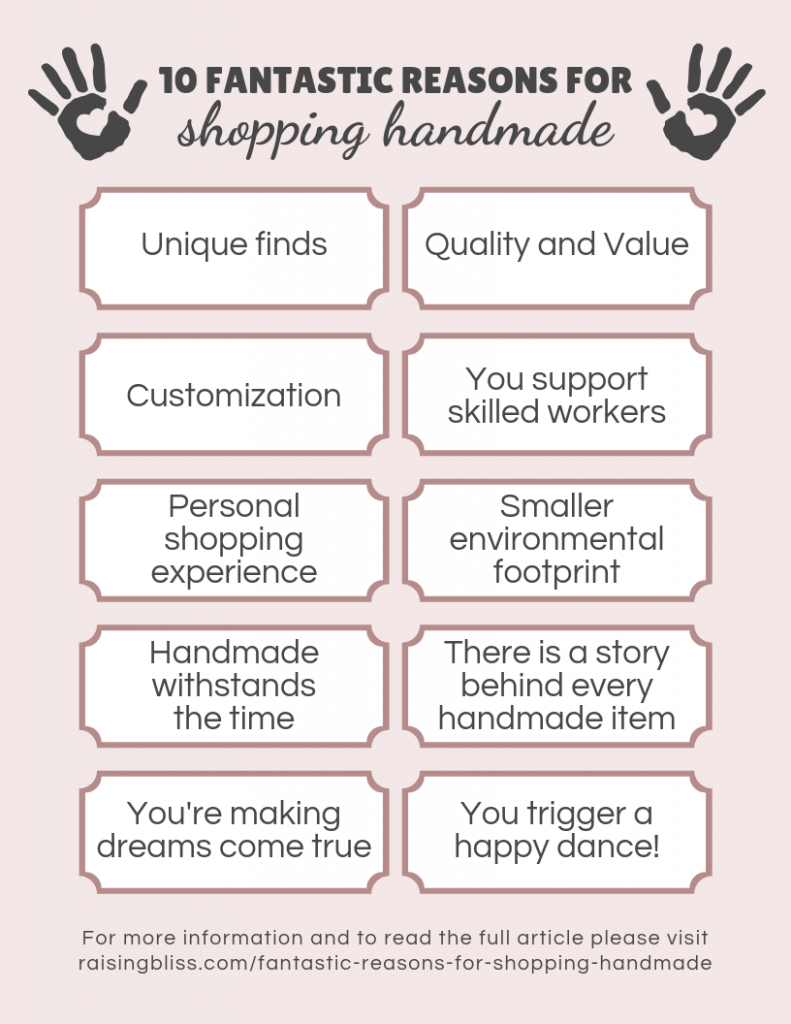 summary of 10 Fantastic reasons for shopping handmade by raising bliss