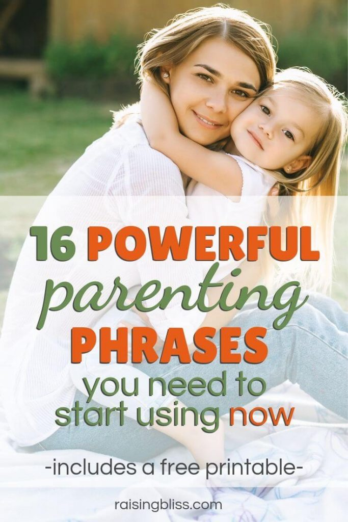 Little girl hugging happy mom 16 Powerful Parenting Phrases You Need to Start Using Now includes a free printable by raising bliss 3