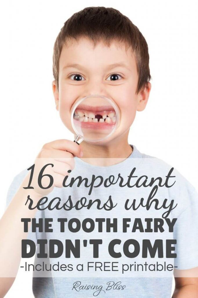 Boy showing his missing tooth with a magnifying glass why the tooth fairy didnt come