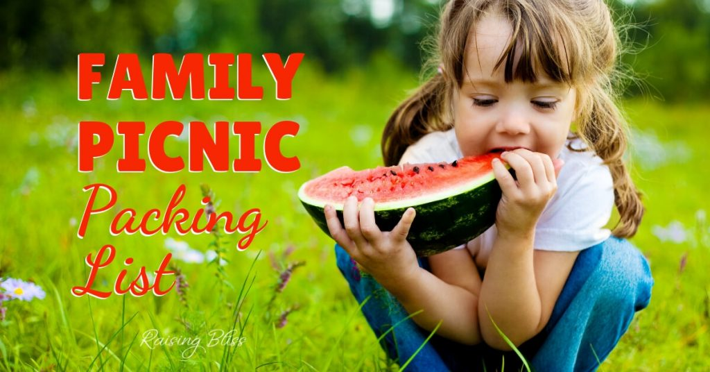 Girl eating watermelon outdoors Family Picnic Packing List by Raising Bliss