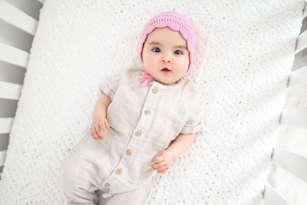 Handmade crochet pink baby bonnet