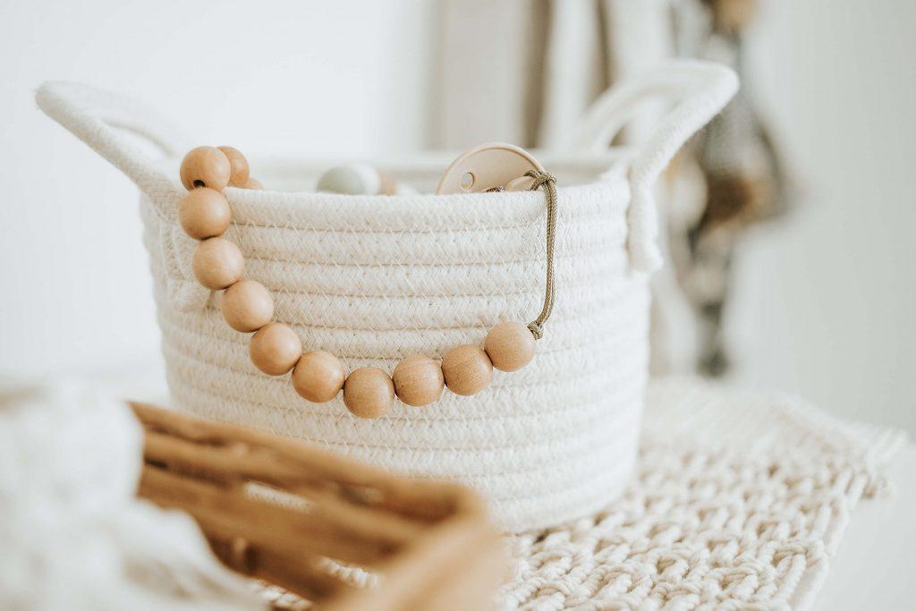 Handmade wooden beaded pacifier clip