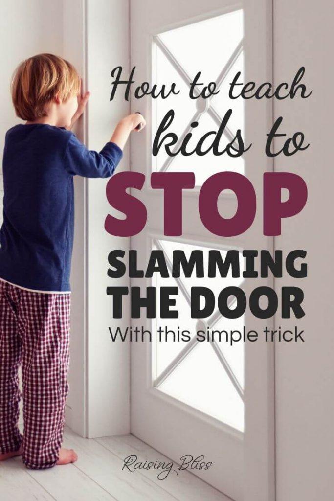 Little boy holding door handle How to Teach Kids to Stop slamming the door