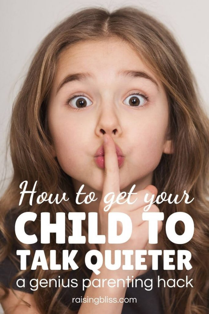 Little girl making quiet gesture How to get your child to talk quieter by raising bliss