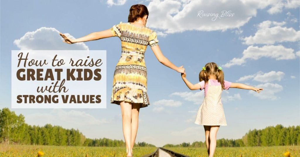 Mother and daughter walking hand in hand. How to raise great kids with strong values by raising bliss