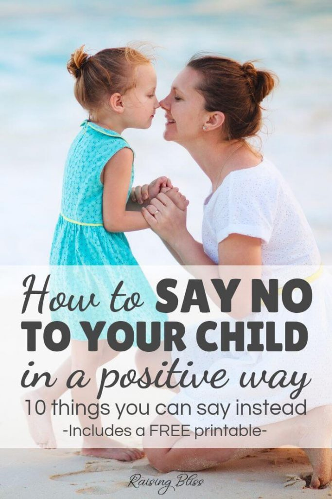 Mother and daughter at the beach. How to say no to your child in a positive way - 10 things you can say instead by Raising Bliss