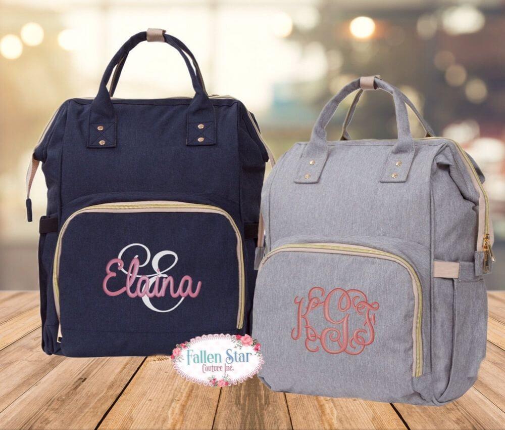 Monogrammed diaper bag backpack