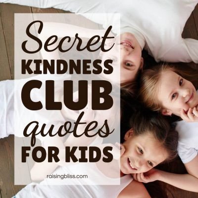 Four friends Secret Kindness Club Quotes for Kids by Raising Bliss