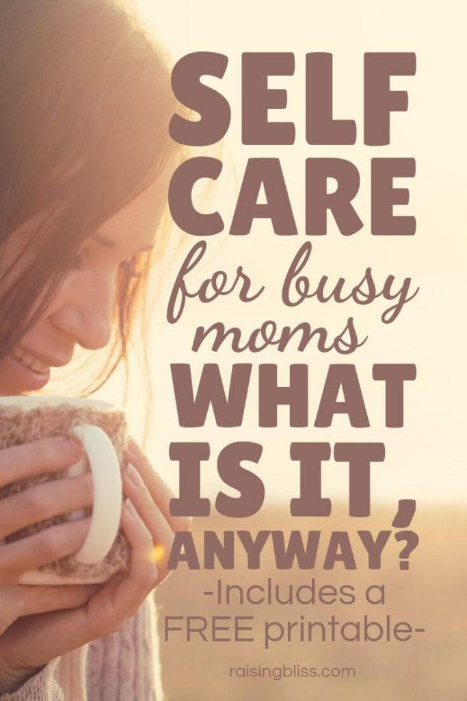 Mom calmly sipping coffee outdoors Self care for busy moms what is it anyway by raising bliss