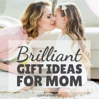 Little girl gives mama a gift Special gift ideas for mom