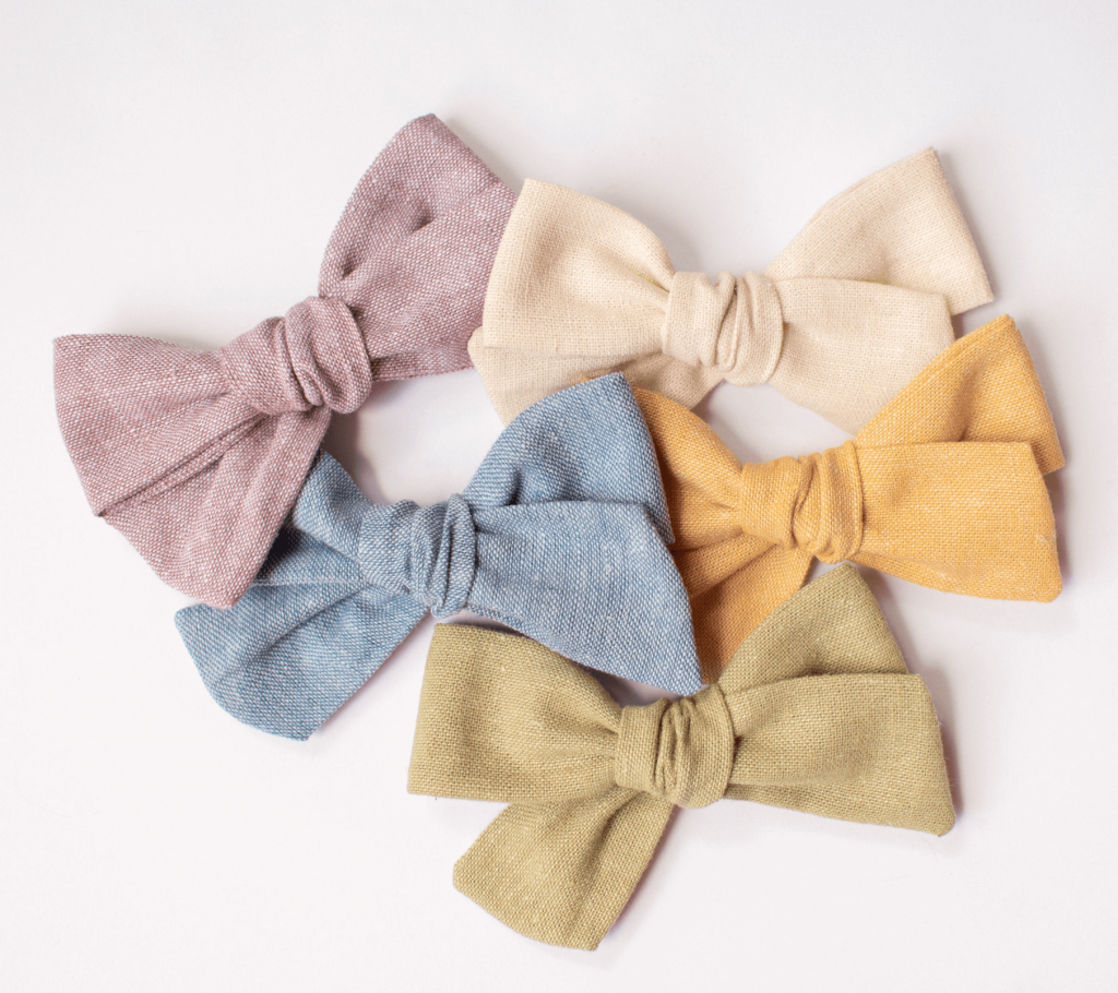baby girl linen bows