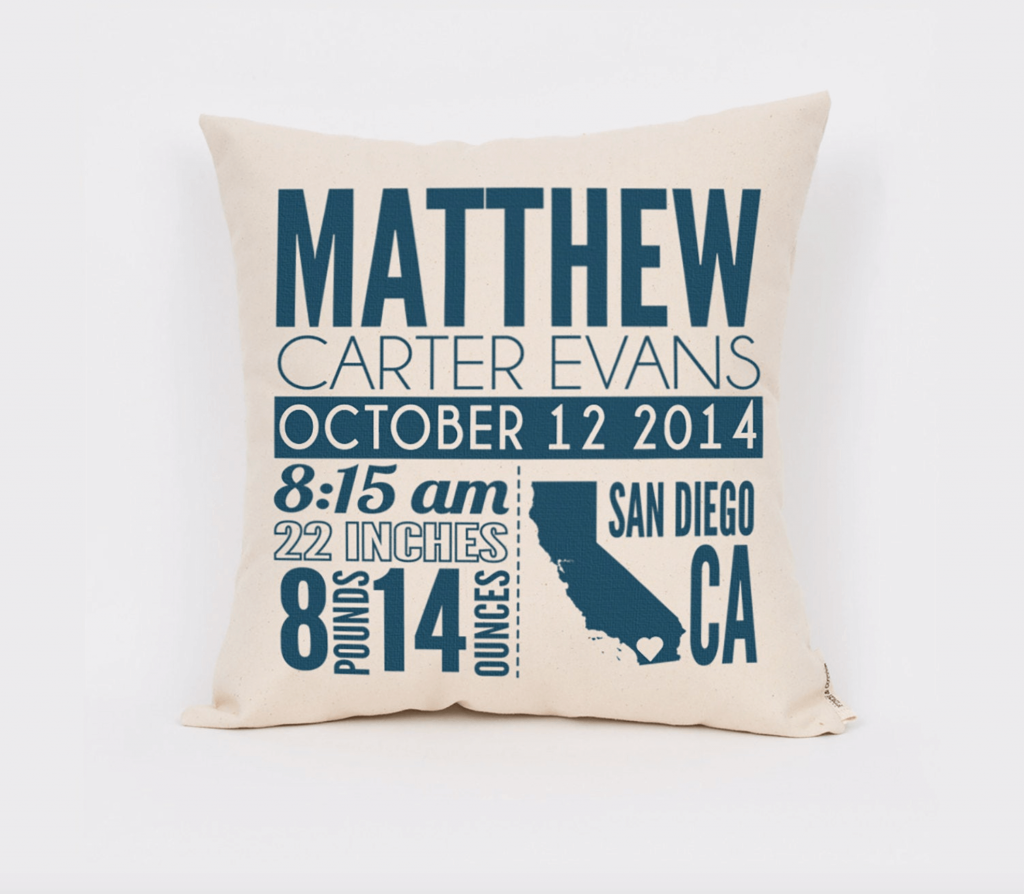 birth stats pillow