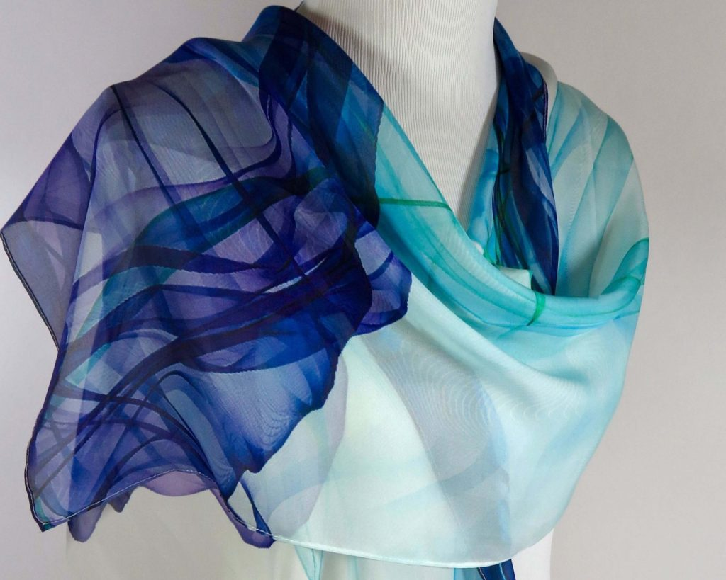 ink in water silk shawl for mom