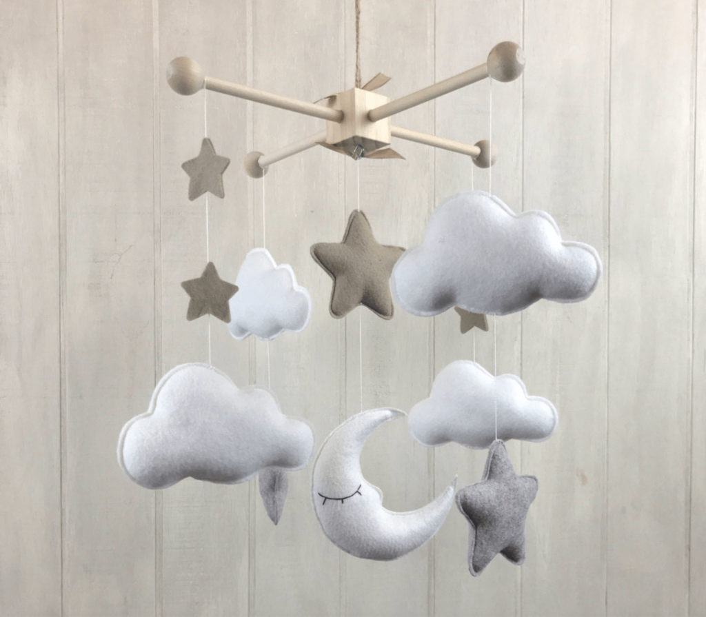 moon stars and clouds baby mobile