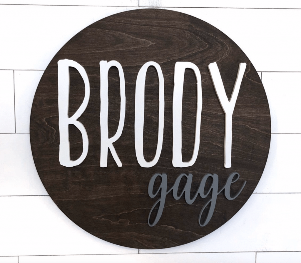 round wood nursery name sign