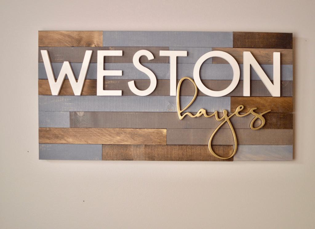 wooden name nursery hanging